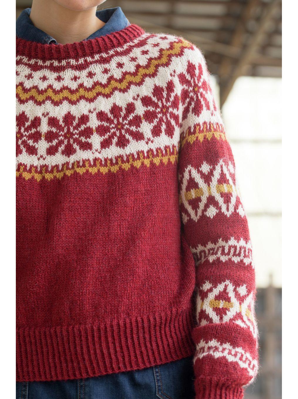 DG394 07 Aase kort genser dyp rød | Dale Garn