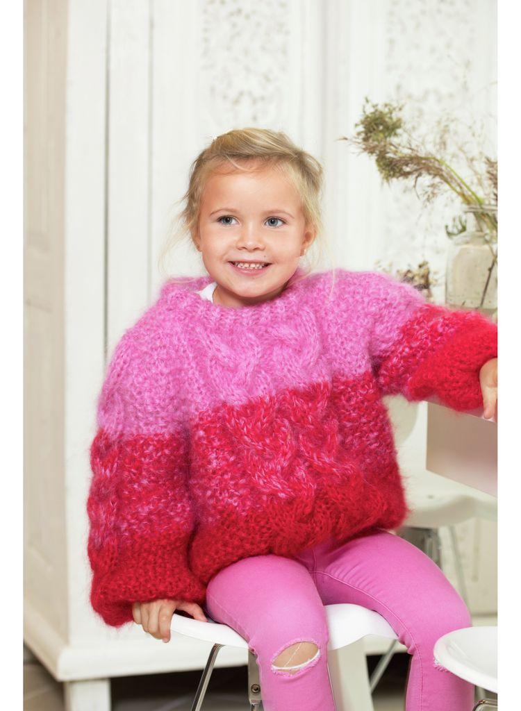 Pixiegenseren til barn i Rød, kjøp den som strikkepakke hos