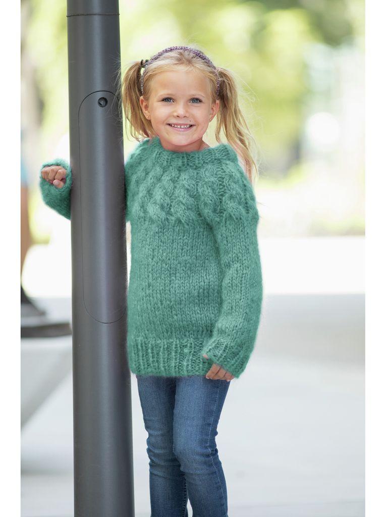 DG395 11 Pixiegenseren kids lys sjøgrønngammelrosa | Dale Garn