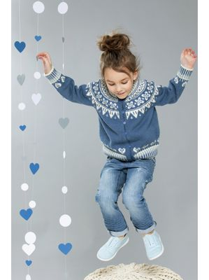 Vinterhjerter Genser i Blå, 1-4 år