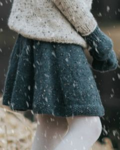 Snurreskjørt Barn, Mørk Gråblå Alpakka Tweed Classic